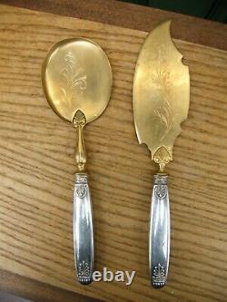 Couverts de Service à Glace Empire en Argent Massif Silver Silber