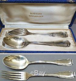 Couverts en argent massif BOULENGER silver fork spoon cuillère + fourchette
