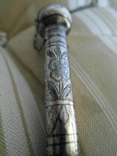 Cravache Cosaque En Argent Niellé / Antique Silver Riding Crop