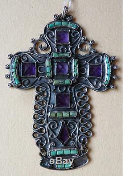 Croix ARGENT massif + turquoise + améthyste Matilde Poulat silver CROSS