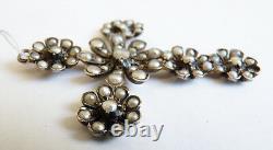 Croix argent massif + perles 19e s bijou régional silver pearl cross cruz