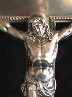 Croix d'Autel Argent Massif 1830 Epoque Charles X Antique Cross Silver Christ