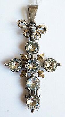 Croix normande argent massif 19e s bijou régional Normandie silver cross