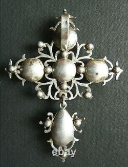 Croix normande de Saint Lo argent massif 19e s bijou régional silver cross cruz