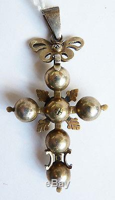 Croix normande en argent massif 19e s bijou régional Normandie silver cross