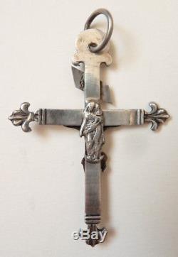 Croix pendentif argent massif Bijou du 19e siècle silver cross crucifix