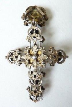 Croix pendentif argent massif austro-hongrois 19e siècle bijou silver cross
