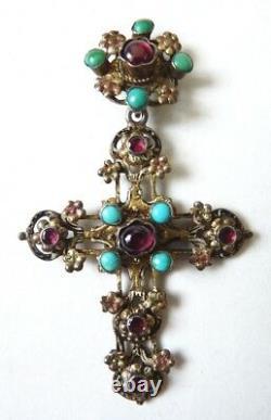 Croix pendentif argent massif austro-hongrois hungarian 19e s silver cross