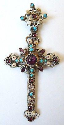 Croix pendentif argent massif + grenat 19e s silver cross Austro-hongrois