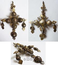 Croix pendentif en argent massif 18e siècle bijou régional silver cross Espagne