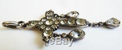 Croix pendentif en argent massif cristal 19e siècle bijou régional silver cross