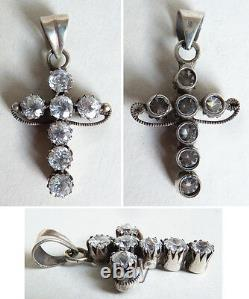 Croix pendentif en argent massif + strass19e silver bijou régional silver cross
