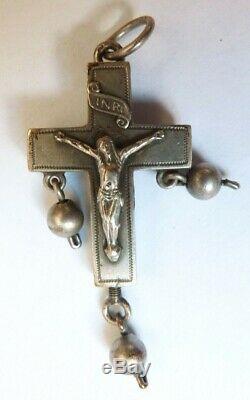Croix reliquaire argent massif Bijou du 19e siècle silver cross crucifix