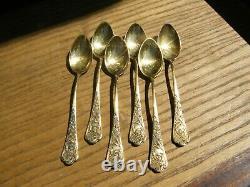Cuillères à Café en Argent Massif Vermeil Silver Silber