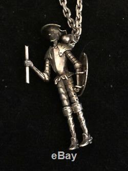 Don Quichotte Argent Massif Vintage Articulé Antique Silver Pendentif Breloque