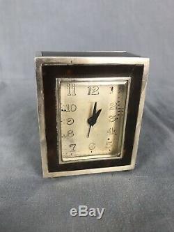 ETERNA Pendulette Art Deco Ecaille Et Argent Massif 1930 Clock Silver