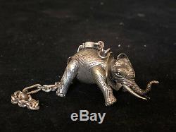 Éléphant Argent Massif Vintage Articulé Antique French Silver Pendentif Breloque
