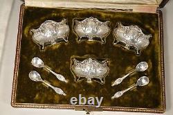 Ensemble Salerons Argent Massif Antique Salt Cellar Set Solid Silver