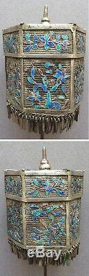 Épingle à chapeau argent + émail Chine palanquin 19e siècle silver pin hat China