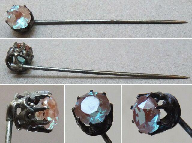 Épingle à Cravate Vers 1900 Saphiret Cristal Saphirette Silver Pin