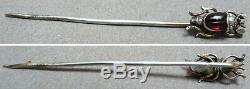 Epingle cravate chapeau scarabée grenat 19e s argent massif silver pin scarab