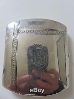 Etui A Cigarette + Porte Allumette Pyrogene Argent Massif Saphir Silver Case