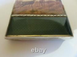 Etui Boite A Cigarette Argent Massif Emaille Cigarette Case Enamel Silver
