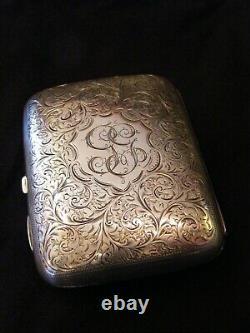 Etui à Cigares en Argent Massif Silver Silber Birmingham 1899 Cigar Case Gloster