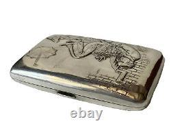Étui à Cigarettes Argent 800 Personnage Caricature Antique Silver Cigarette Case