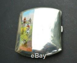 Etui a cigarettes argent émaillé (silver enamel vénerie hunting horse)