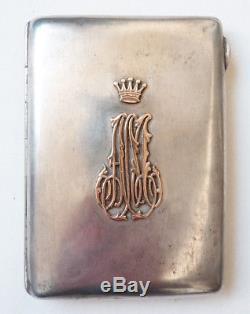Étui cigarettes ARGENT et OR russe Russie silver box couronne crown 130 gr