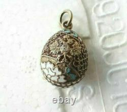 FABERGE rare RUSSIAN Imperial 84 Silver Egg Pendant with Enamel