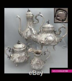 FLAMANT ANTIQUE 1880s FRENCH ALL STERLING SILVER TEAPOT COFFEE POT SET 4pc 1944g