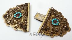 Fermoir de bracelet collier argent massif 19e siècle Empire Ottoman silver clasp