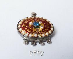 Fermoir de bracelet collier émaux bressans + argent massif 19e silver clasp