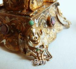 Flacon ARGENT Austro-hongrois hungarian grenat ange silver garnet bottle angel