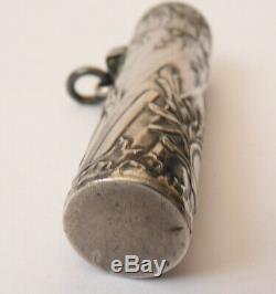Flacon à parfum en argent massif vers 1900 silver bottle chatelaine