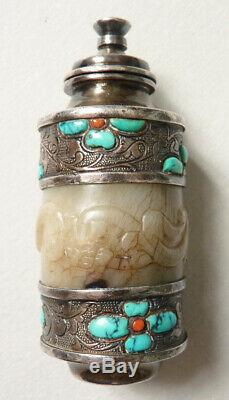 Flacon tabatière argent massif + jade + turquoise Chine silver bottle 19 s China