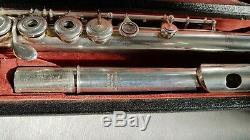Flûte Louis Lot Pro. Argent Massif 1845 tamponné entièrement, Silver, Pads new