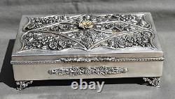 GRANDE BOITE A BIJOUX EN ARGENT MASSIF DECOR DE FLEURS silver case box