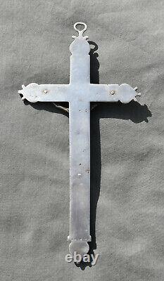 GRANDE CROIX CRUCIFIX PENDENTIF EN ARGENT MASSIF CHRIST silver cross H= 18cm