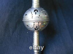 GRAND ANCIEN HOCHET ARGENT à GRELOTS 1880 ART POPULAIRE OLD BABY RATTLE SILVER