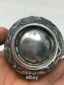 Gobelet Timbale Argent Massif Poinçon Dragon Asie Asia Asian Silver Antique 79gr