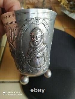 Goblet timbale beaker allemagne german argent silver 1619 christian anhalt 17éme