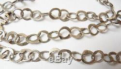 Grand Sautoir collier chaine en ARGENT massif bijou ancien Tunisie silver chain
