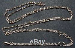 Grand Sautoir collier en argent massif vermeil porte montre silver chain