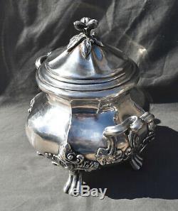 Grand Sucrier Argent Massif Minerve Decor Louis XV Silver Sugar Bowl Rocaille