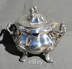 Grand Sucrier En Argent Massif Minerve Decor Louis XIV Silver Sugar Bowl