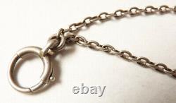 Grand sautoir Chaine COLLIER en ARGENT massif + perles 19e siècle silver chain