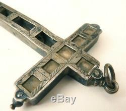 Grande Croix reliquaire argent massif 18e s silver cross reliquary cristal roche